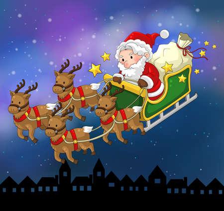 Santa Claus on a reindeer sleigh in Christmas in night scene, create by vector Vector