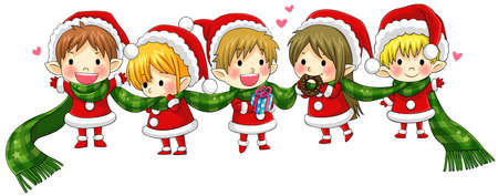gnome: Cute Christmas elves tie together with a long scarf in a concept of greeting and happiness, create by vector