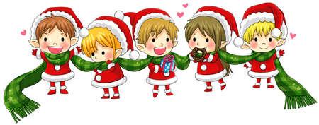 together with long tie: Duendes lindos de la Navidad atan junto con una larga bufanda en un concepto de saludo y felicidad, crear por el vector