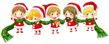together with long tie: Cute Christmas elves tie together with a long scarf with no black outline version, create by vector