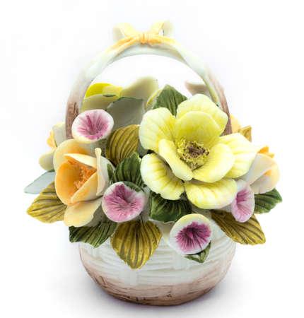 trinket: Artificial Flower Vase on white Background