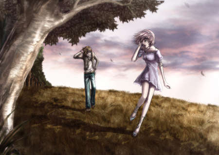 fog forest: Fantasy drawing Cute couple is walking along the beautiful field on the hill with white mist Stock Photo