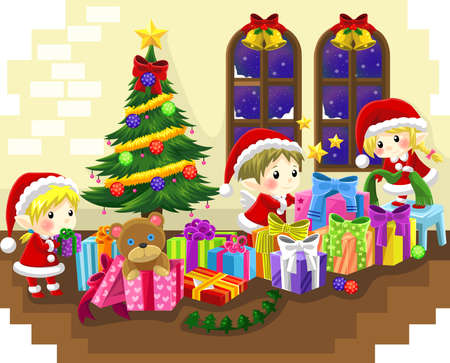 Cute little elves are celebrating Christmas, create by vector Vector