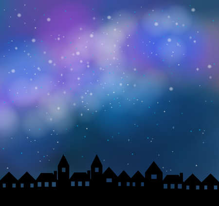 silent: Silent night with beautiful stardust sky, create by vector