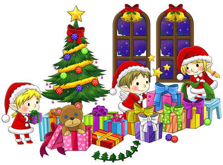 Cute little elves are celebrating Christmas in isolated background with black outline, create by vector Vector