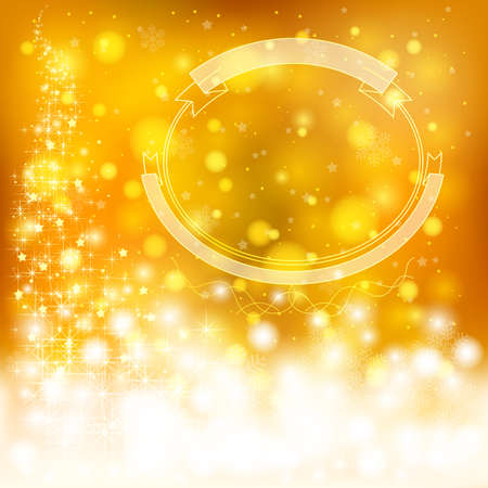 Golden festive Christmas background with snowflakes and sparkling lights, create by vector Vector