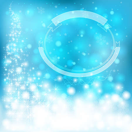Blue festive Christmas background with snowflakes and sparkling lights, create by vector Vector