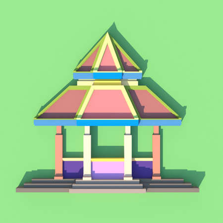 3d temple: 3D evelation of south-east Asian pavilion or temple front view in artistis design