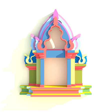 khmer: 3D elevation of south-east Asian pavilion or temple front view in artistic design