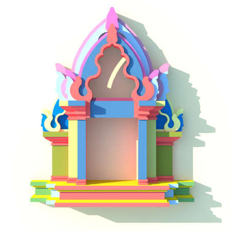 front elevation: 3D elevation of south-east Asian pavilion or temple front view in artistic design