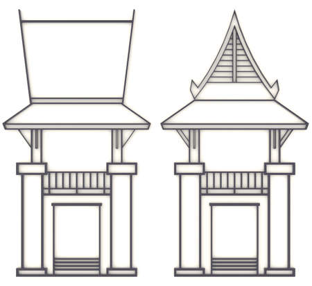gable: 3D elevation drawing of south-east Asian pavilion or temple in front and side view Stock Photo