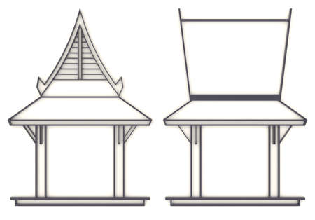 3D elevation drawing of south-east Asian pavilion or temple in front and side view Stock Photo