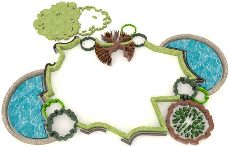 recycle area: Top view of 3D green environment design for modern lifestyle Stock Photo