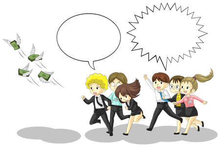Money is flying away from business and office people with speech bubble. It is because of inflation, economic recession, or business loss?