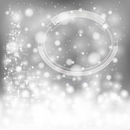 Silver festive Christmas background with snowflakes and sparkling lights, create by vector Vector