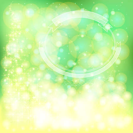Green festive Christmas background with snowflakes and sparkling lights, create by vector Vector