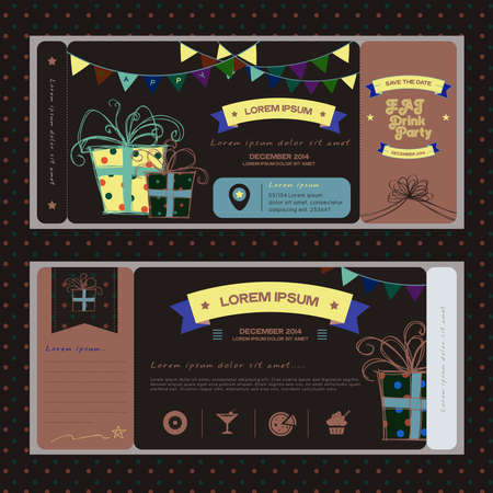 wedding reception decoration: Vintage ticket for NIGHT birthday party or other any kind of fun celebration party, create by vector Illustration