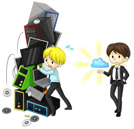 Une comparaison entre le système internet ancienne mode et système de nuage, créer par le vecteur