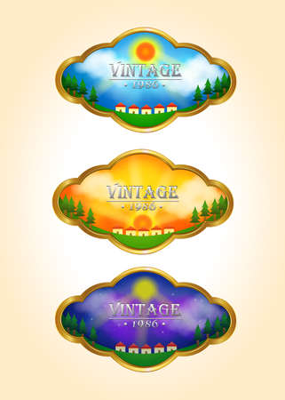 timelapse: Three vintage time-lapse landscape tag icons, create by vector