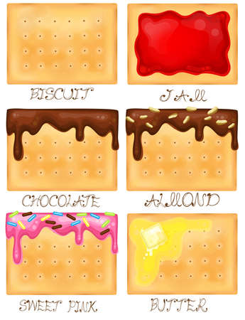 toppings: Biscuit icon set with different toppings