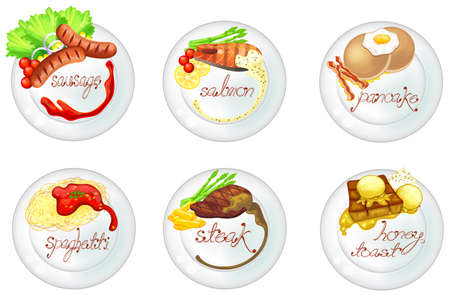 western food: Western food and dessert in white dishes icon set, create by vector Illustration