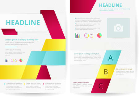 e magazine: Two pages and flyer background layout design in A4 size, create by vector