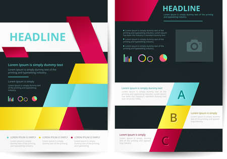 Two pages of flyer background layout design in A4 size, create by vector Vector