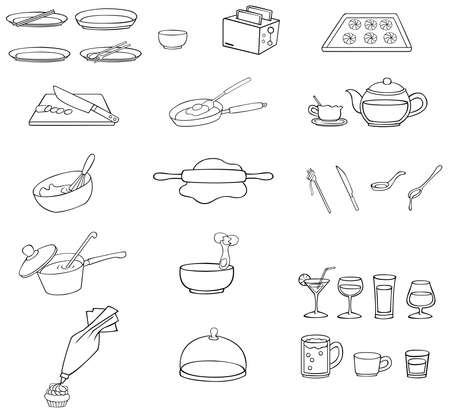 household objects: Black and white line drawing kitchenware icon set, create by vector Illustration