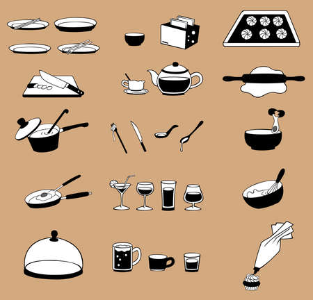 silhouette line drawing kitchenware icon set, create by vector Vector