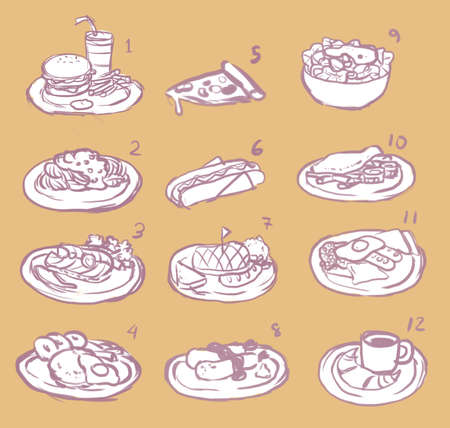 Raster international food sketch icon collection set Vector