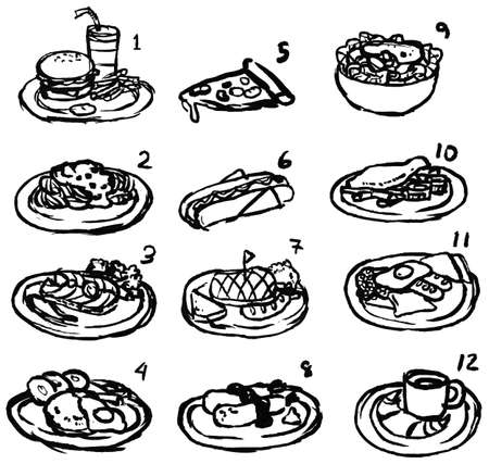 side dish: Rough black and white line sketch of international food icon collection set, create by vector Illustration