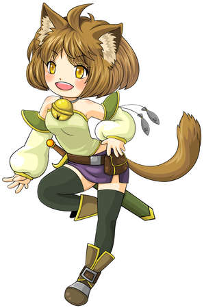 rpg: Fantasy female cat warrior in Japanese manga illustration style, create by vector