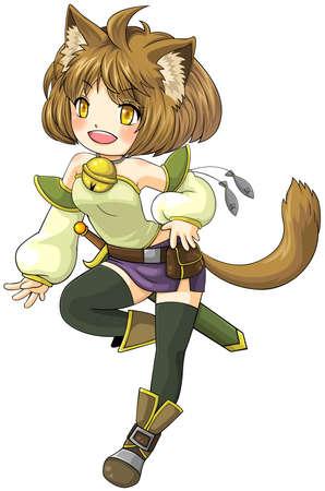 super dog: Fantasy female cat warrior in Japanese manga illustration style, create by vector