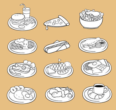 Black and white line drawing of international food icon collection set, create by vector Vector