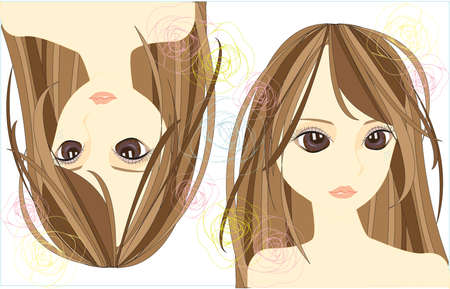 Stylish girl with cute line design, create by vector Illustration