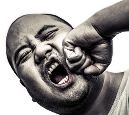 anger management: I bald head man got punch in the face in isolated background, in heavy brawl concept