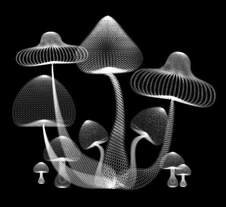 holographic: Abstract design of white mushroom in black isolated background, create by vector