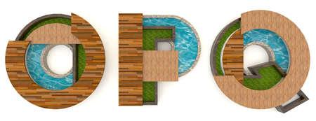 p buildings: 3D English alphabet fonts in architect texture style (O P Q set)
