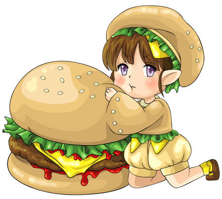 stories: Cute cartoon hamburger elf, the goddess of food, create by vector Illustration