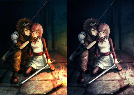 militaire sexy: Fantastique illustration d'un sniper moderne embrasser une fille guerrier mignon dans sombre cachot Banque d'images