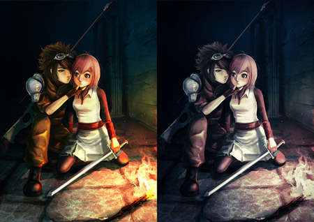 sex man: Fantasy illustration of a modern sniper kissing a cute warrior girl in dark dungeon