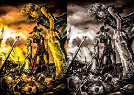 rpg: Fantasy drawing: Three great wizards are standing on the pile of corpse Stock Photo
