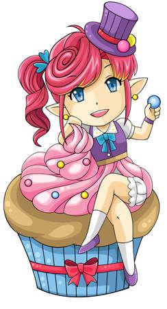 Cute cartoon cupcake the goddess of dessert