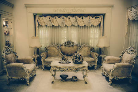 haunting: A living room with a luxurious and classical haunting retro style