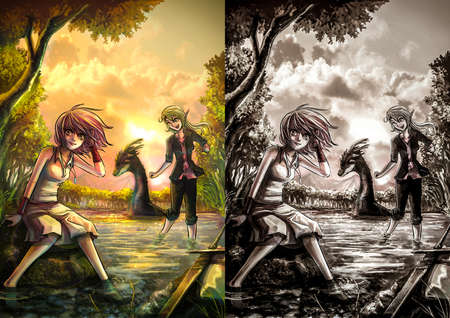 adventure story: Two cute fantasy girls resting on the riverside bank in the peaceful atmosphere in evening sunset set Stock Photo