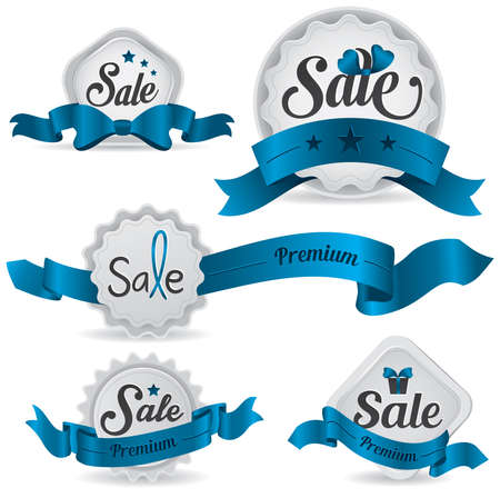 Blue ribbon glossy sale badges with various shape and design, create by vector Vector
