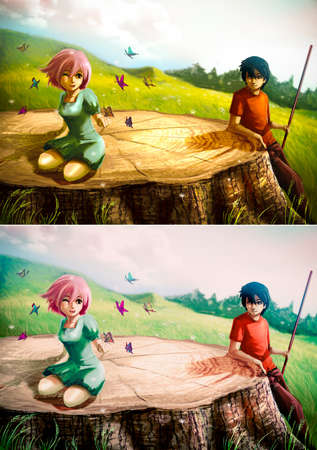 A girl is playing with butterflies on a giant stump with her boyfriend looking   photo