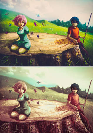 grub: A girl is playing with butterflies on a giant stump with her boyfriend looking