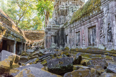 Ancient ruins of Angkor wat temple in Siem Reap, Cambodia. It has Khmer cultural architechture design. photo