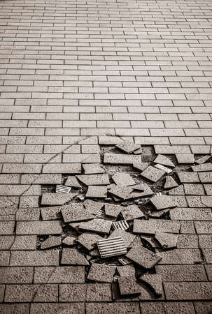 Crack ground made with tile material grunge style photo
